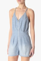 7 For All Mankind Short Romper In Stretch Chambray