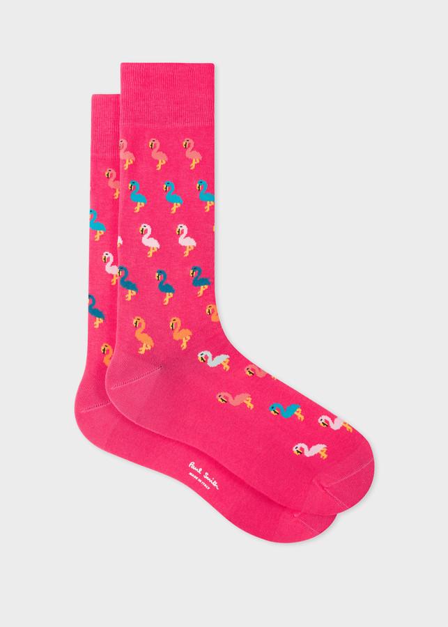 Paul Smith Men's Pink 'Flamingo' Socks