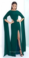 Mac Duggal Floor Length Bell Sleeve Column Dress