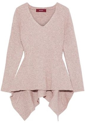 Sies Marjan Grace Asymmetric Melange Ribbed-knit Sweater
