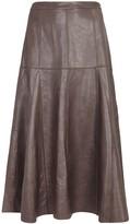 Halston Taupe Leather Midi Skirt