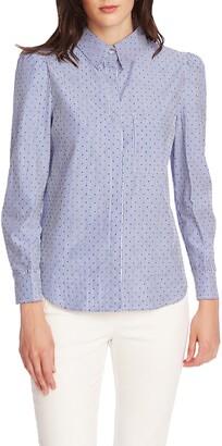Court & Rowe Pinstripe Flocked Dot Button-Up Cotton Shirt