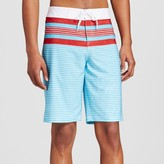 Mossimo Men's Board Shorts Red White Turquoise Stripe