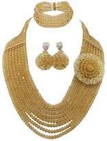 Africanbeads 8 Rows African Bridal Jewelry Set,Crystal Necklace,Wedding Gift,Bridesmaid Necklace