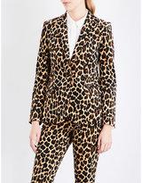 Frame Cheetah single-breasted velvet blazer