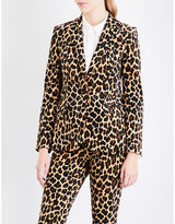 Frame Ladies Cheetah Modern Single-Breasted Velvet Blazer