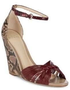 Alexandre Birman Textured Leather Wedge Sandals