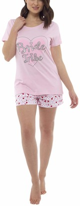 Foxbury Ladies Cotton Bride Tribe Printed Shortie Pyjama Set Pink 12-14