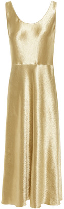 Vince Metallic Hammered-satin Midi Dress