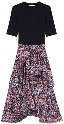 Maje Rinto Bi-Material Wrap Dress