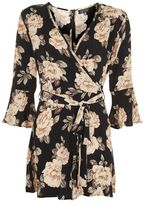 Topshop Dark blossom wrap playsuit