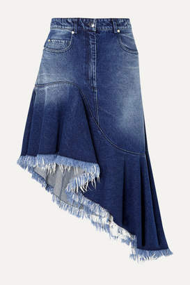 Michael Kors Asymmetric Frayed Denim Skirt - Indigo