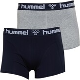 Hummel Mens Mars Two Pack Boxers Navy/Grey