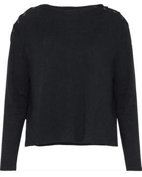 Enza Costa Lace-up Melange Cotton And Cashmere-blend Top