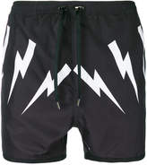 Neil Barrett lightning bolt swim shorts