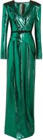 Roland Mouret Wrap-effect Lamé Gown - Emerald