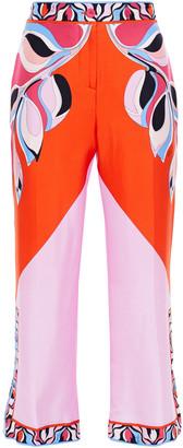 Emilio Pucci Printed Silk-twill Kick-flare Pants