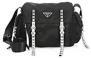 Prada Women's Nylon Messenger Bag with Studding