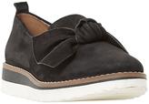 Dune Gardinia Bow Wedge Heeled Loafers, Black