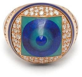 Francesca Villa You Spin Me Around Diamond & Lapis Ring - Womens - Blue