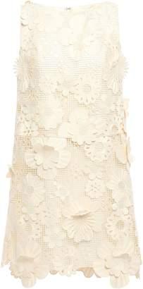 Anna Sui Floral-appliqued Guipure Lace Mini Dress