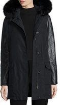 Woolrich Leather-Trim Arctic Parka Coat w/ Fox Fur, New Black