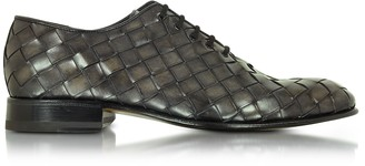 Forzieri Italian Handcrafted Cinder Woven Leather Oxford Shoe
