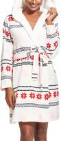 U.S. Polo Assn. Women's Sleep Robes ivory - Ivory Fair Isle Hooded Robe - Women