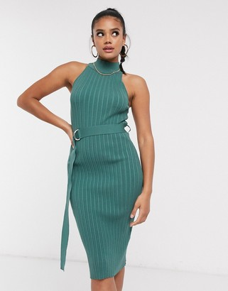 4th + Reckless high neck belted ribbed midi dress in teal