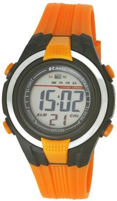 Ravel LCD Digital Water Resistant Sports Boy's Digital Watch with Black Dial Digital Display and Orange Plastic Strap RDB-18