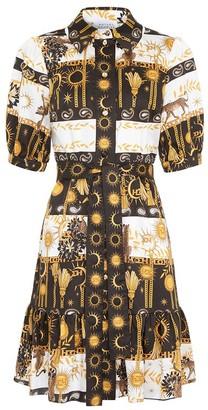 Hayley Menzies Mini Shirt Dress with Sash in Black / White - xs