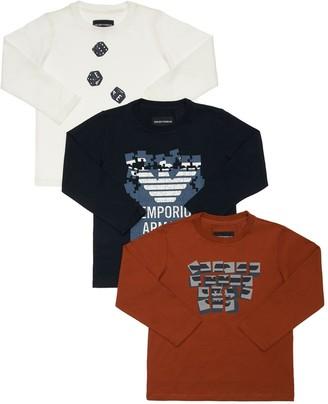 Emporio Armani Set Of 3 Logo Cotton Jersey L/s T-shirts