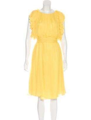 Thomas Wylde Ruffle Midi Dress Yellow