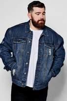 boohoo Big And Tall Blue Distressed Denim Jacket