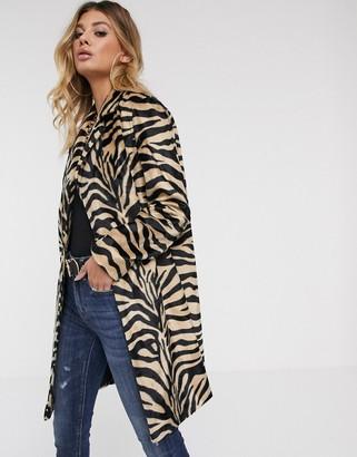 Helene Berman faux hair coat in zebra
