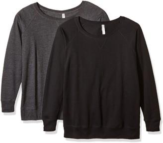 Clementine Apparel Women's 2-Pack Ladies Curvy Plus Slouchy Long Sleeve Pullover Sweatshirt