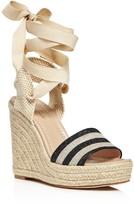 Kate Spade Delano Glitter Stripe Lace Up Espadrille Platform Sandals