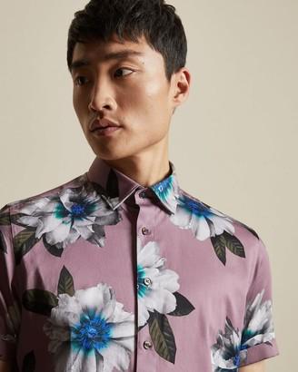 Ted Baker Short Sleeved Floral Print Cotton Shirt