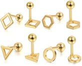 Aroncent 4 Pairs Stainless Steel Mens Womens Earring Piercing Barbell Hypoallergenic 8 Pcs