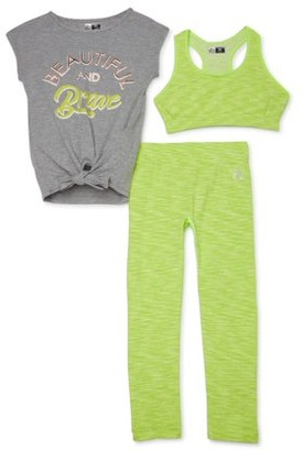 RBX Girls' 7-12 Graphic Active Tank Top, Space Dye Sports Bra and Capri Leggings, 3-Piece Active Set