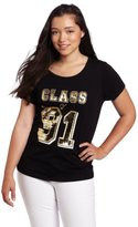 Southpole Juniors Plus-Size Class Of 91 Sequins And Rhinestone Foil Fashion Tee