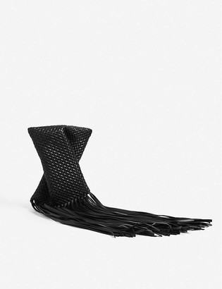 Bottega Veneta Crisscross fringed leather clutch