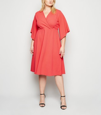 New Look Just Curvy Flutter Sleeve Wrap Dress