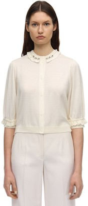 Simone Rocha Embellished Wool Blend Knit Cardigan