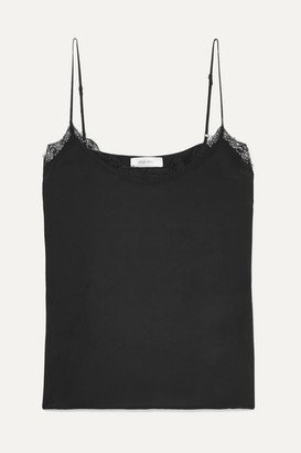 Anine Bing Lace-trimmed Washed-silk Camisole - Black