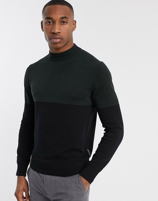 French Connection organic cotton color block turtleneck in green