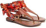 Sam Edelman Giliana Brown Leather & Botanical Printed Satin Sandals