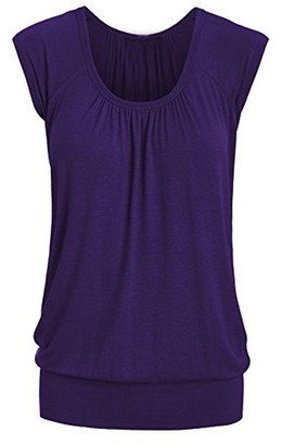 ReooLy Women Summer Casual Round Neck Solid Short Sleeve T-Shirt Top Blouse(Violet Large)