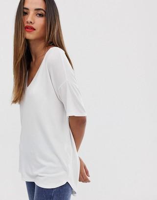 Asos Design DESIGN v neck oversized t-shirt in textured jersey in white