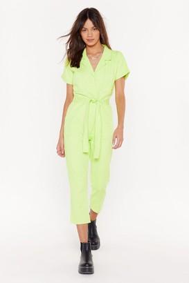 Nasty Gal Womens Belted Short Sleeve Boilersuit - green - 6